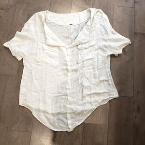 Free People casual v-neck white top